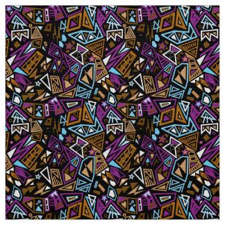 Triangle pop art cool bright black blue pattern fabric