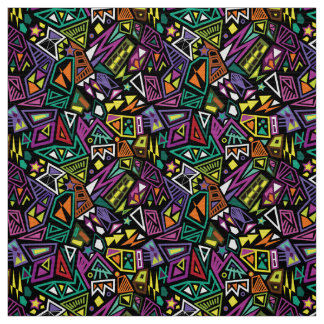 Triangle pop art cool bright black green pattern fabric