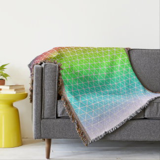 Triangle Rainbow Geometric Framework Tessellation Throw Blanket