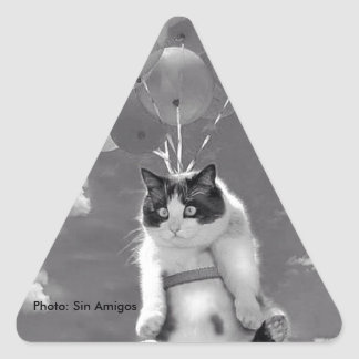 Triangle Sticker: Funny cat flying with Balloons Triangle Sticker