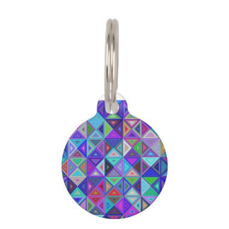 Triangle tile mosaic pet ID tag