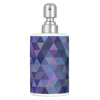Triangle tiles soap dispenser and toothbrush holder
