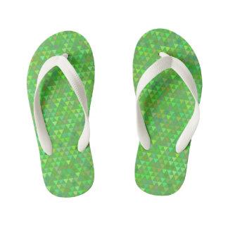 Triangles - Bright Green Kid's Flip Flops