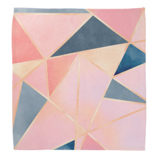 Triangles denim blue pink peach gold kerchief