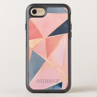 Triangles denim blue pink peach gold OtterBox symmetry iPhone 7 case