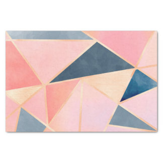Triangles denim blue pink peach gold tissue paper