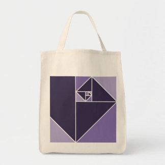 Triangles d'or de rapport (pourpres) sac en toile épicerie