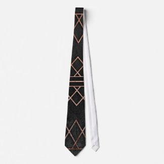 Triangles géométriques d'or rose chic et élégant cravate