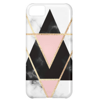 Triangles,gold,black,pink,marbles,collage,modern,t Cover For iPhone 5C