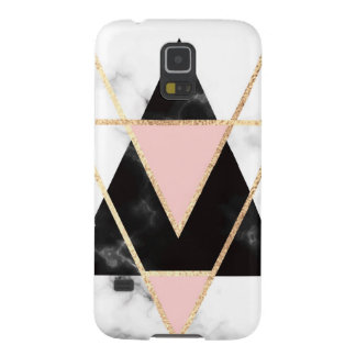 Triangles,gold,black,pink,marbles,collage,modern,t Galaxy S5 Cover