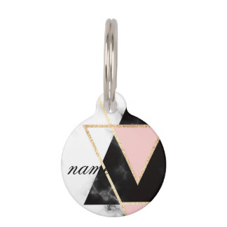Triangles,gold,black,pink,marbles,collage,modern,t Pet ID Tag