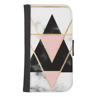 Triangles,gold,black,pink,marbles,collage,modern,t Samsung S4 Wallet Case