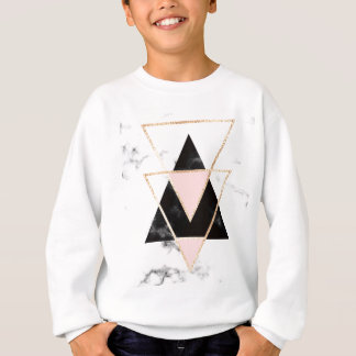 Triangles,gold,black,pink,marbles,collage,modern,t Sweatshirt