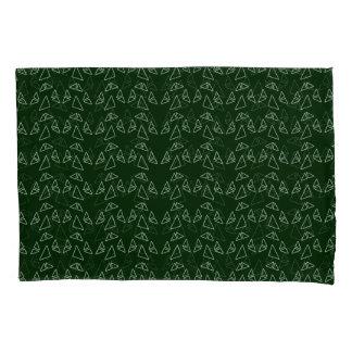 Triangles Green Modern Pillowcase Set