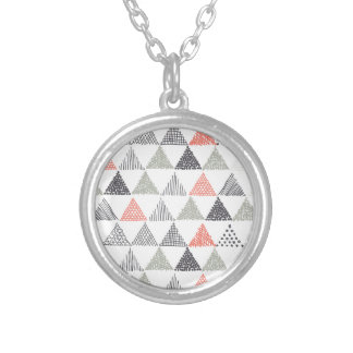 Triangles Round Pendant Necklace