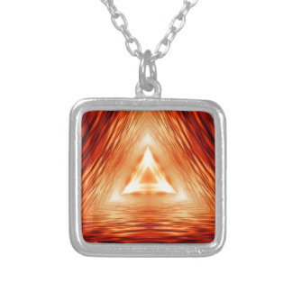 Triangles of fire silver plated necklace