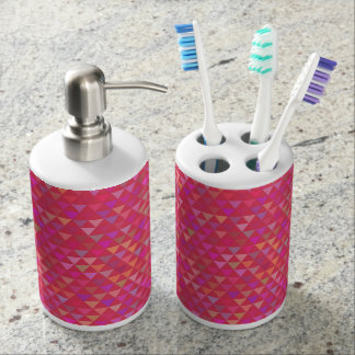 Triangles - Pink (2) Bath Accessory Set