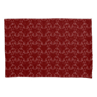 Triangles Red Modern Pillowcase Set