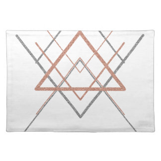 Triangles Rose Gold Silver Placemat