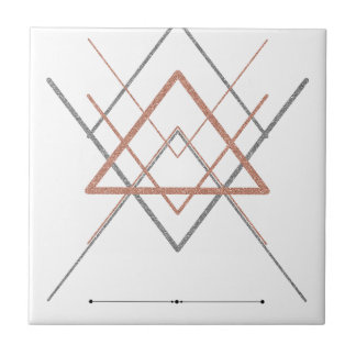 Triangles Rose Gold Silver Tile