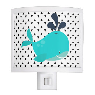 Triangles Smiling Blue Whale Night Light