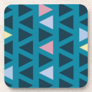 Triangles With Blue and Pink Love Coaster