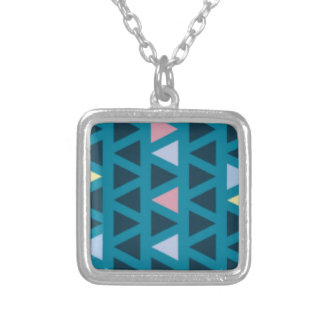 Triangles With Blue and Pink Love Silver Plated Necklace
