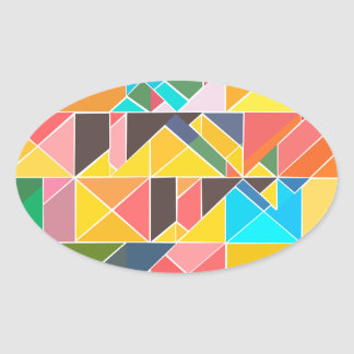 Triangular Abstract Design Oval Sticker