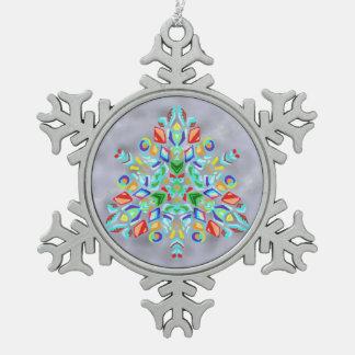 Triangular Design (Snowflake Ornament) Snowflake Pewter Christmas Ornament