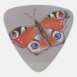 Triangular Guitar Pick with Peacock Butterfly