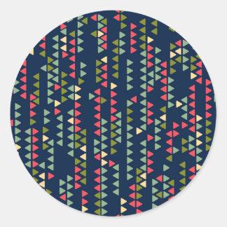 Triangular pattern classic round sticker