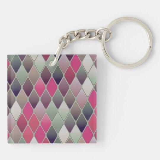 Triangular Pattern Double Sided Acrylic Keychain