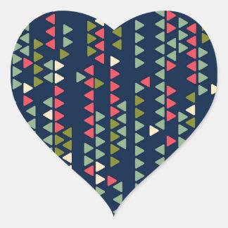 Triangular pattern heart sticker