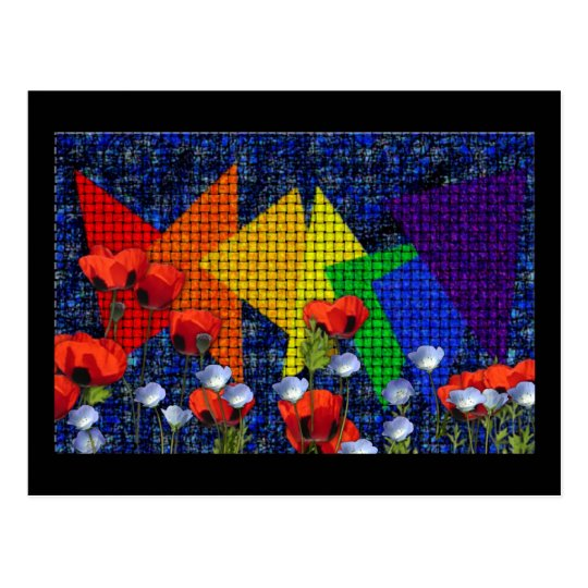Triangular Rainbow Garden Postcard