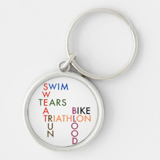 Triathlon blood sweat and tears keychain