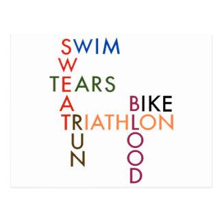 Triathlon Blood Sweat and Tears Postcard