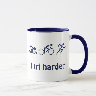 Triathlon custom name and text fun sport mug