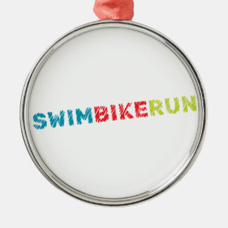 Triathlon design metal ornament