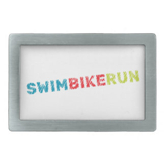 Triathlon design rectangular belt buckle