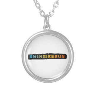 Triathlon design silver plated necklace