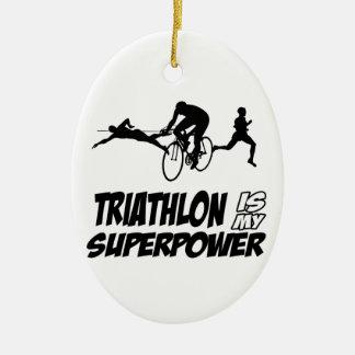 Triathlon designs ceramic ornament