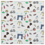 Triathlon Doodles Fabric