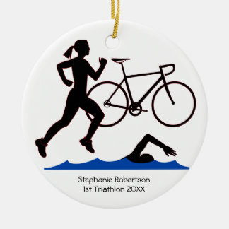 Triathlon Female Keepsake Ceramic Ornament