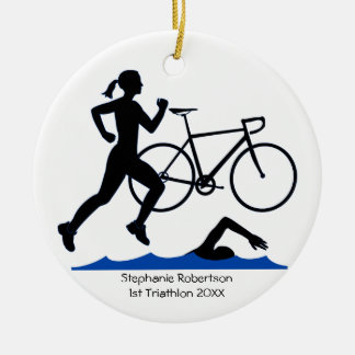 Triathlon Female Keepsake In Blue Ceramic Ornament