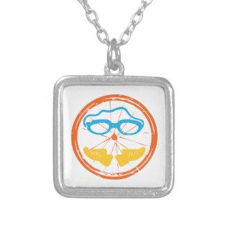Triathlon fun design silver plated necklace
