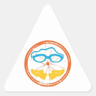 Triathlon fun design triangle sticker