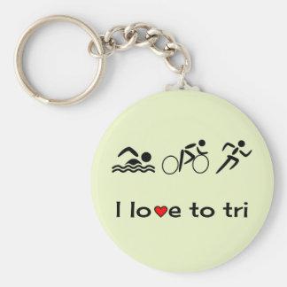 Triathlon icons caption love to tri basic round button keychain