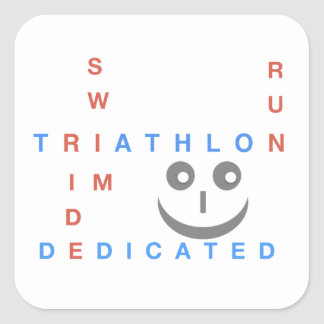 Triathlon I'm Dedicated Square Sticker