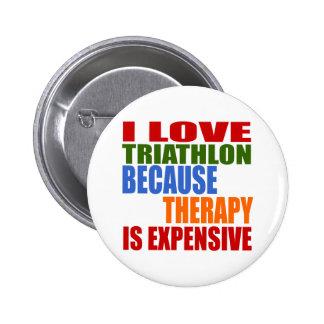 Triathlon Is My Therapy 2 Inch Round Button