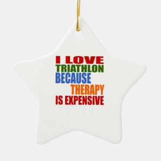 Triathlon Is My Therapy Ceramic Star Ornament